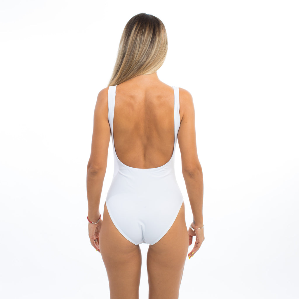 "Sample Sale - White Swimsuit, ""Boss Lady"", Size: M"