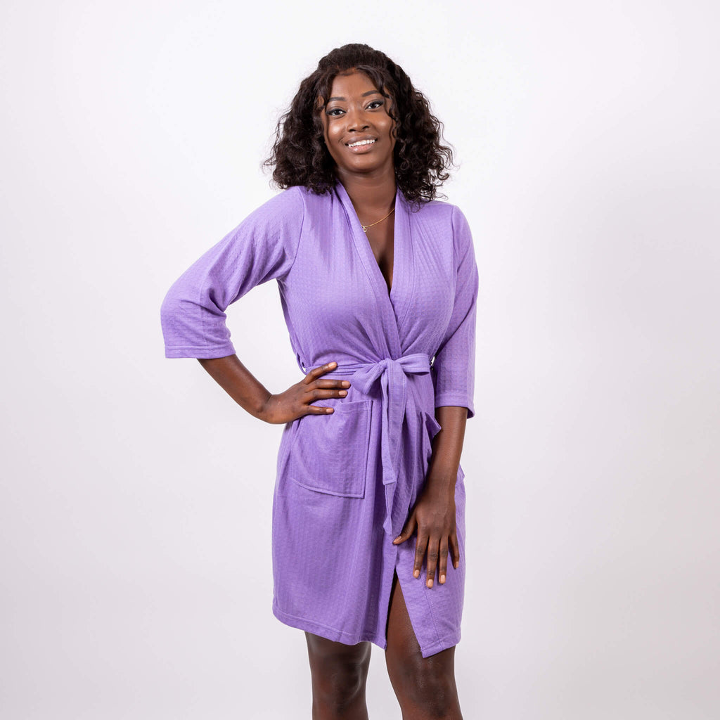 Cotton Waffle-Knit Lavender Customized Robes
