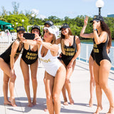 Bachelorette Bride Squad Custom One-Piece Swimsuits