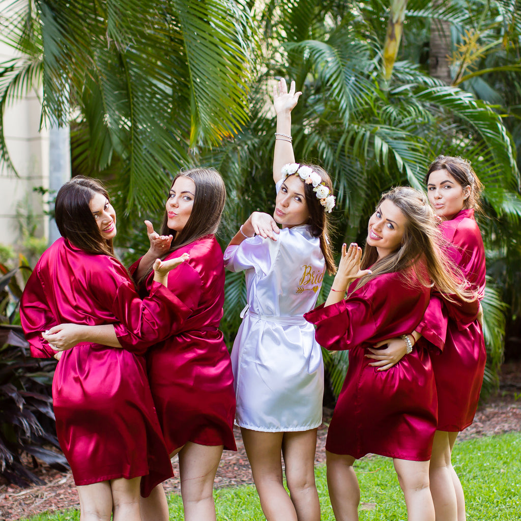 "Sample Sale - Satin Burgundy Robes ""Bridesmaid"" in Gold Glitter"