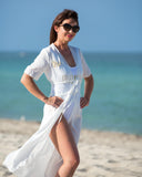 White Customized Sexy Beach Cover Up - Bridesmaid's World
