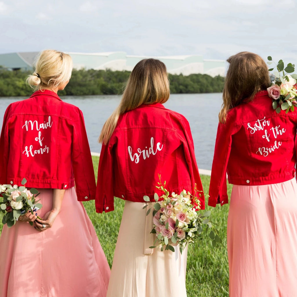 Customized Red Denim Jackets - Bridesmaid's World