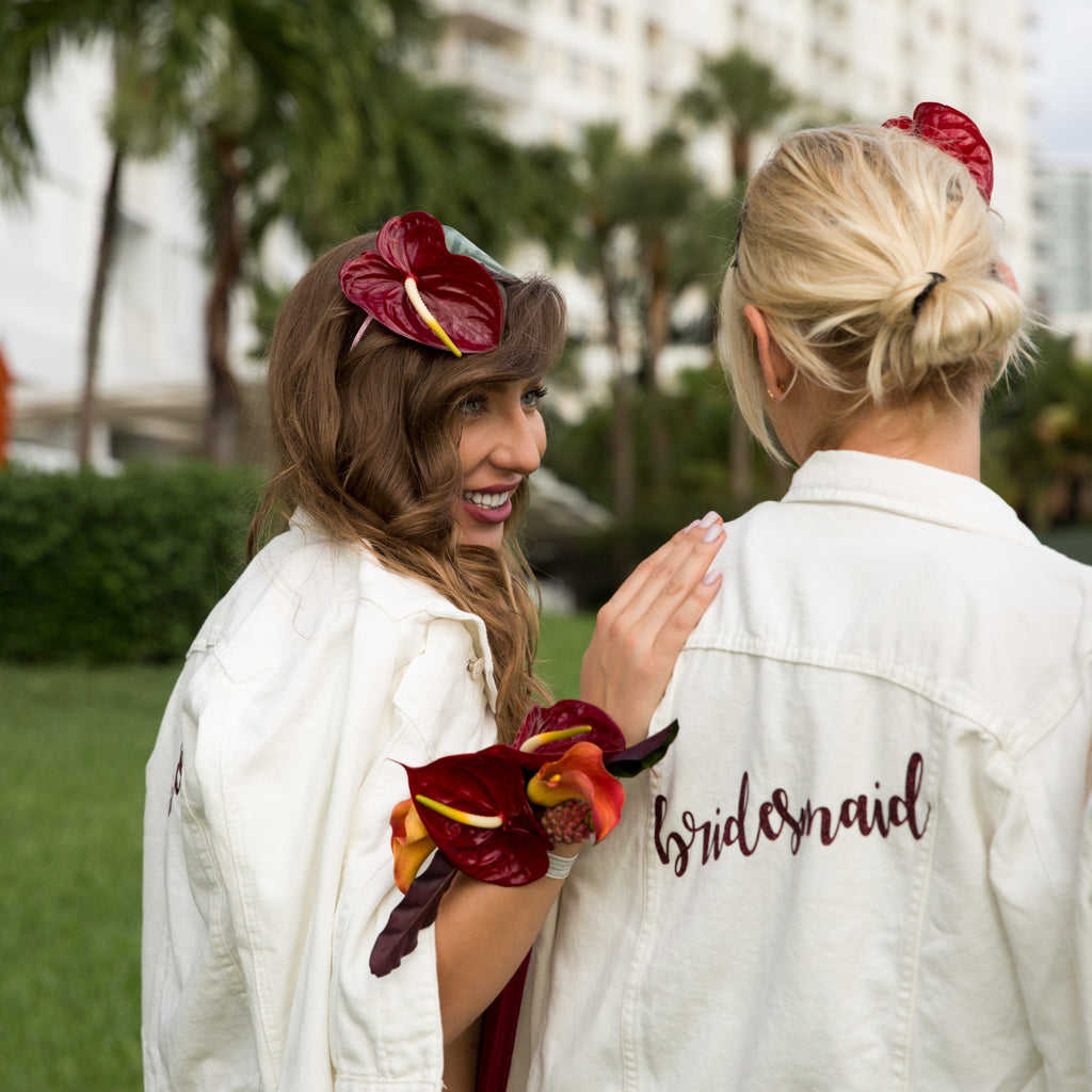 Customized White Denim Jackets - Bridesmaid's World