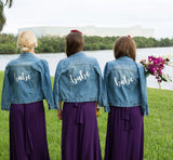 Custom Blue Bridesmaid Wedding Jean Jackets - Bridesmaid's World