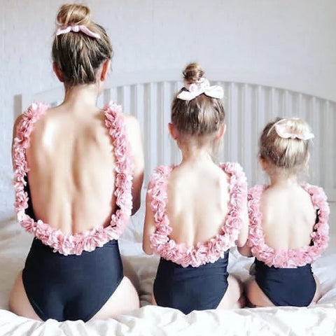 Mommy and me Matching Swimsuits with open back with Flowers