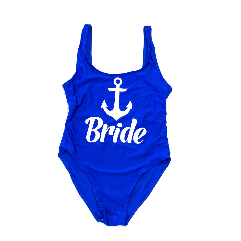 "Sample Sale - Royal Blue Swimsuit, ""Bride"", in White Glitter, Size: M"