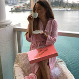 Mother's Day gift Cotton Waffled robe+slippers