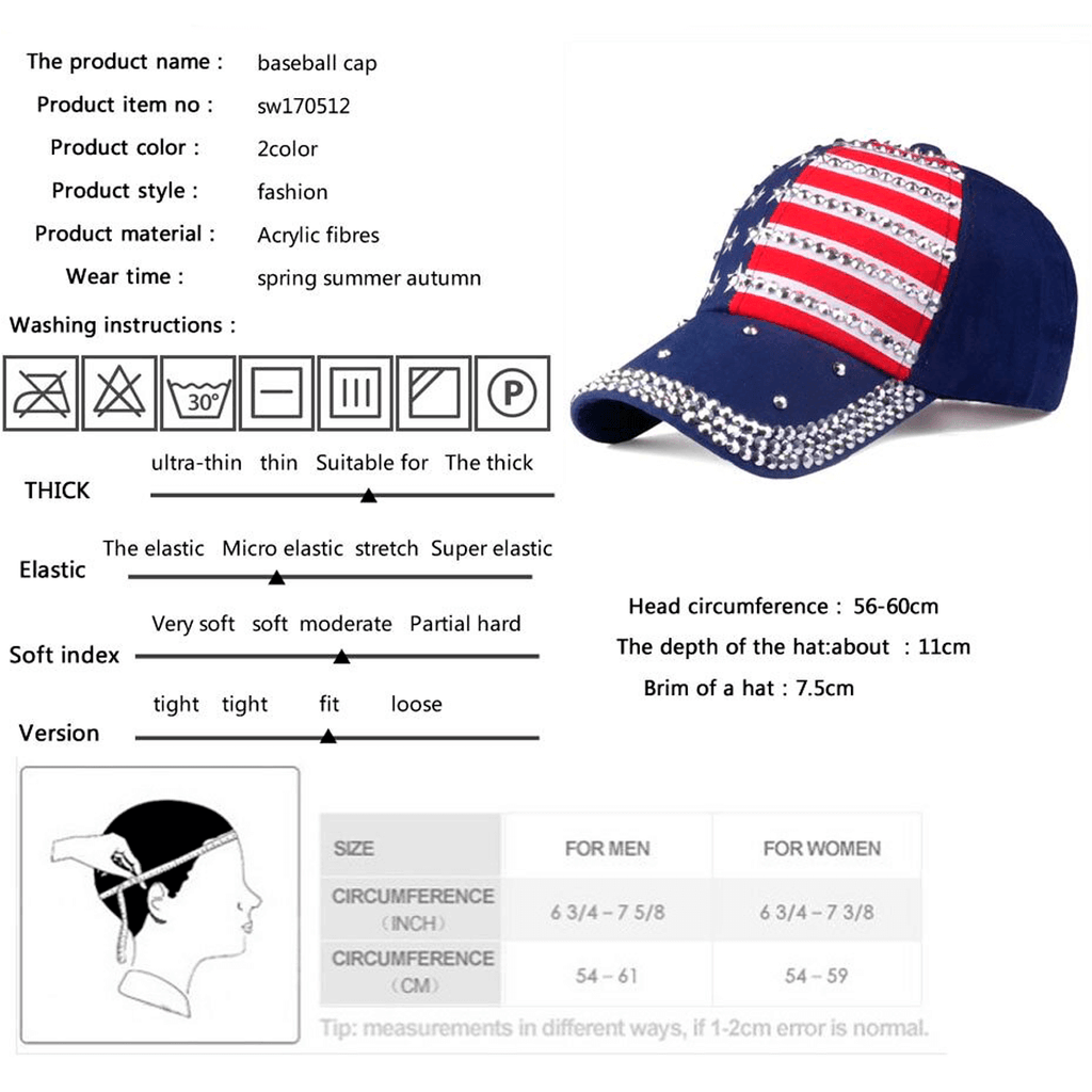 Rhinestone American Flag Adjustable Baseball Cap - Bridesmaid's World