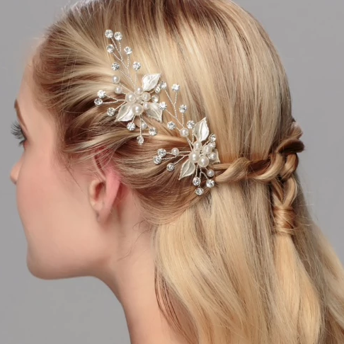 Pearl and Leaves Hair Pins Set 3 pcs - Bridesmaid's World