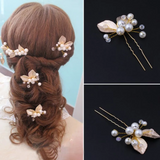 Gold Leaves Hair Pins Set 3 pcs - Bridesmaid's World