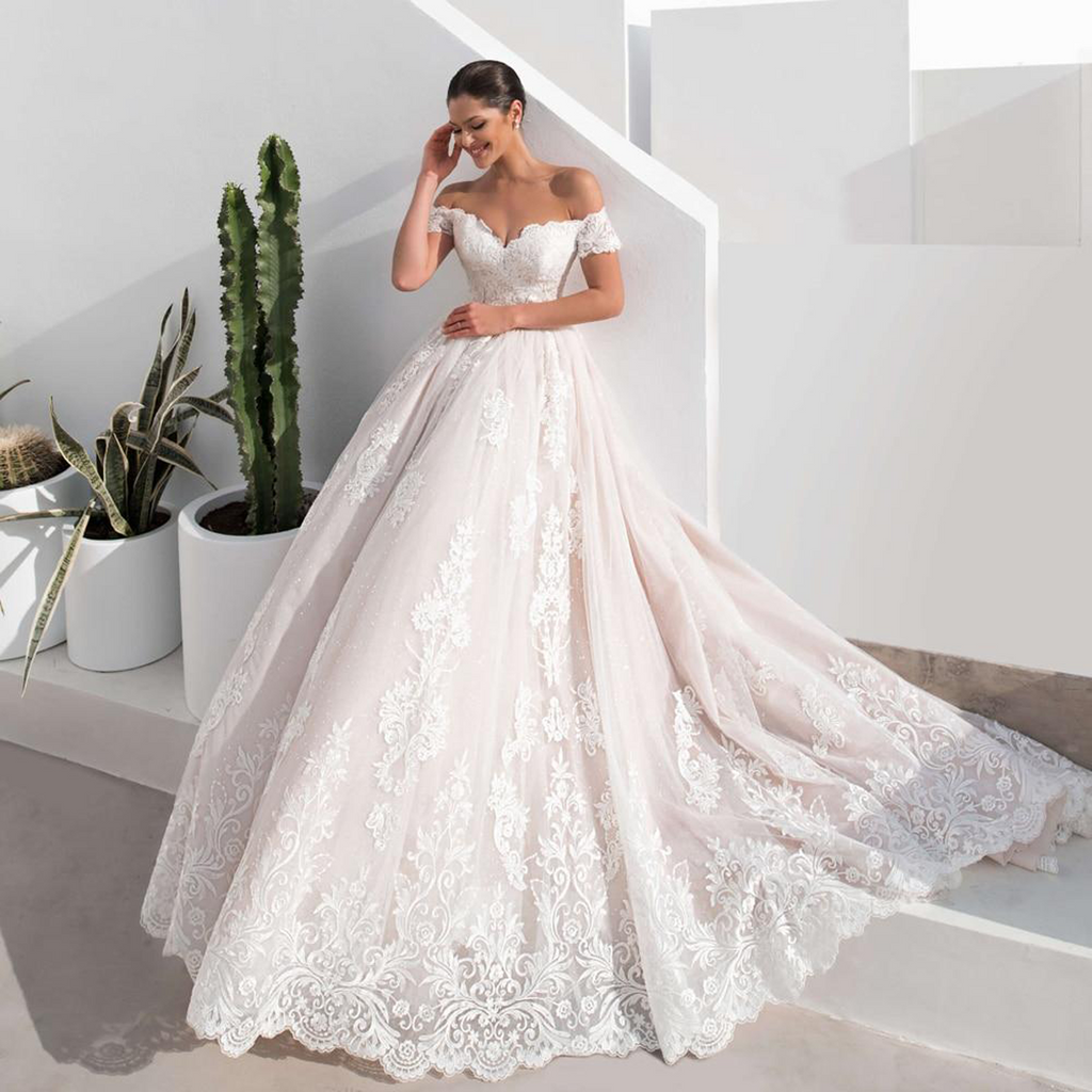 Sexy Backless Boat Neck Short Sleeve Lace Wedding Dresses