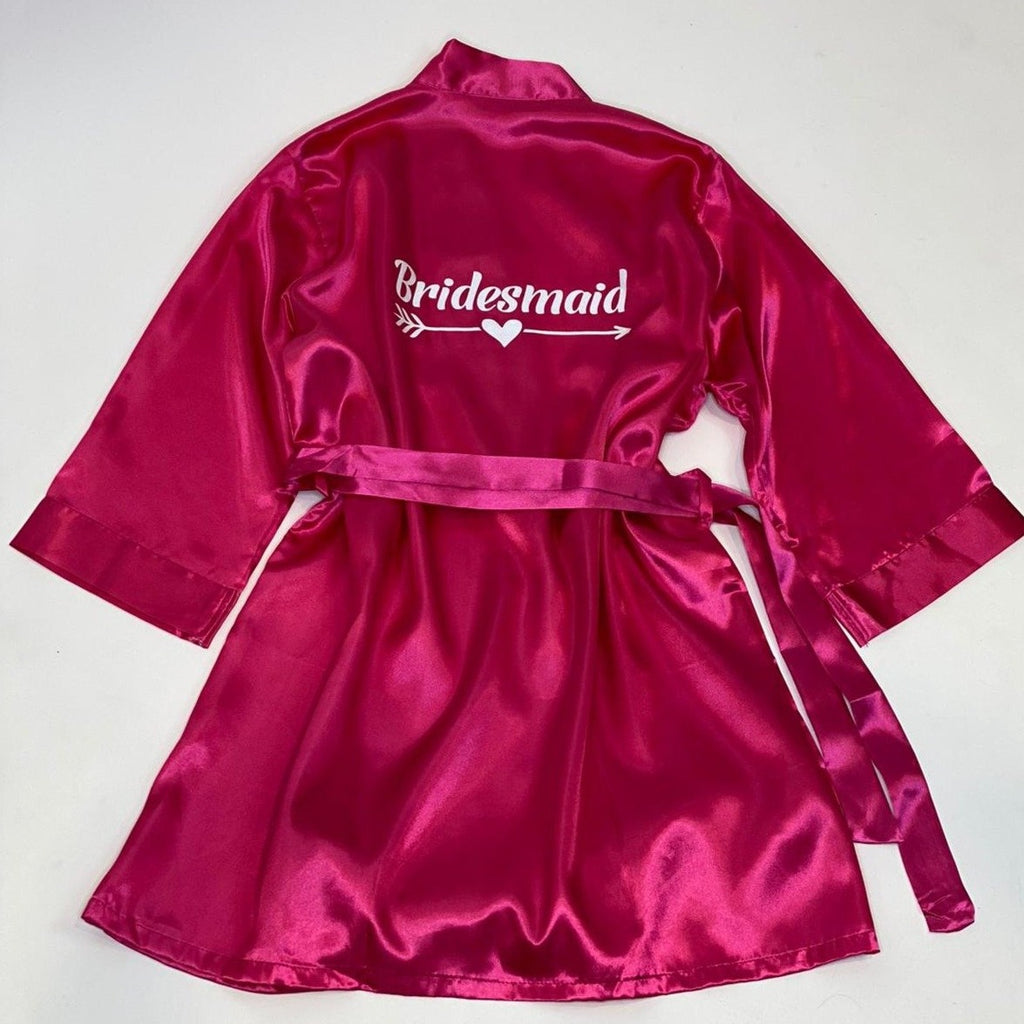 "Sample Sale - Satin Hot Pink Robes ""Bridemaid"" in White Glitter, Size: S-M, M-L"