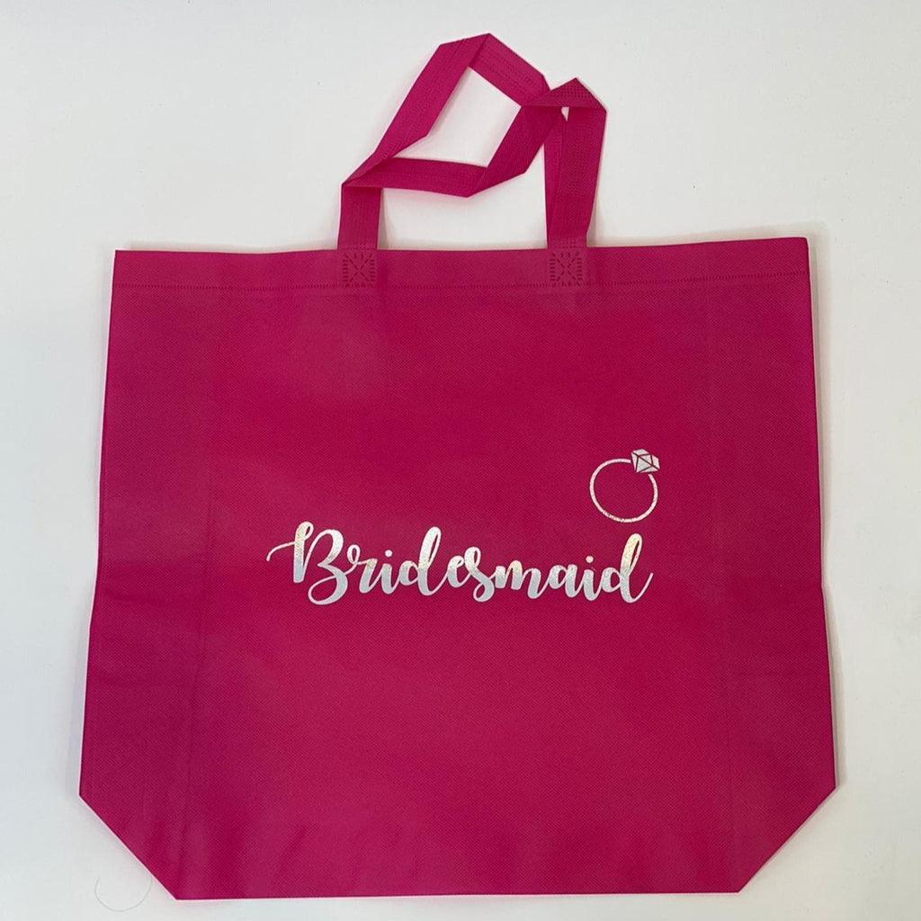 "Sample Sale - Hot Pink Tote Bags, ""Bridesmaid"", in Silver Glitter Size: L"