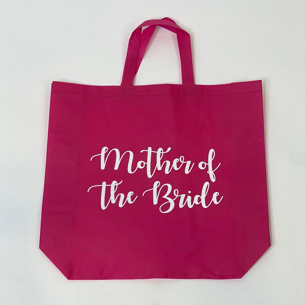 "Sample Sale - Hot Pink Tote Bags, ""Mother of the Bride"", in White Glitter Size: L"