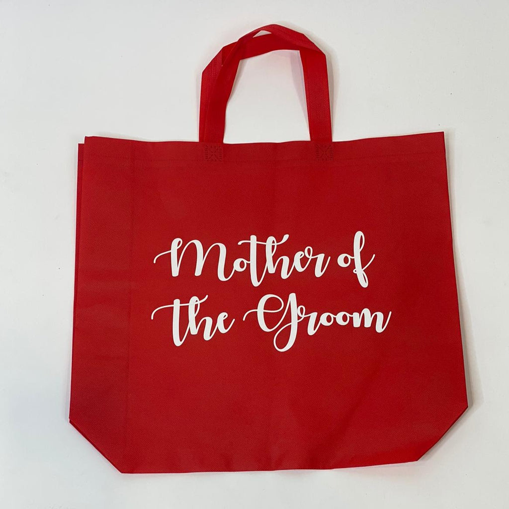 "Sample Sale - Red Tote Bags, ""Mother of the Groom"", in White Glitter Size: L"