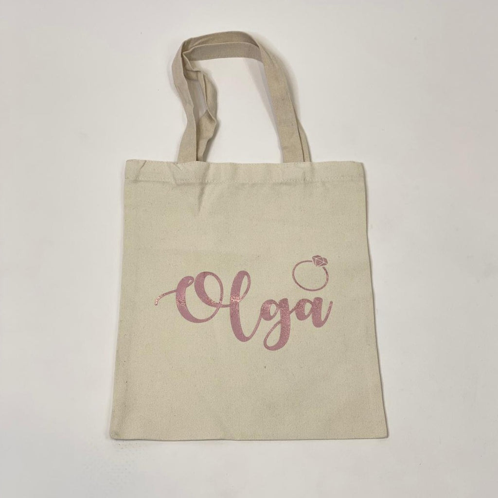 "Sample Sale -Tote Bags, ""Olga"", in Pink Glitter Size: M"
