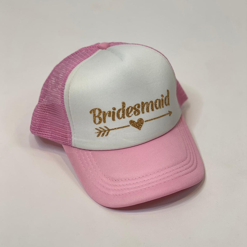 "Sample Sale - Pink/White Trucker Hats, ""Bridesmaid"", in Gold Glitter"