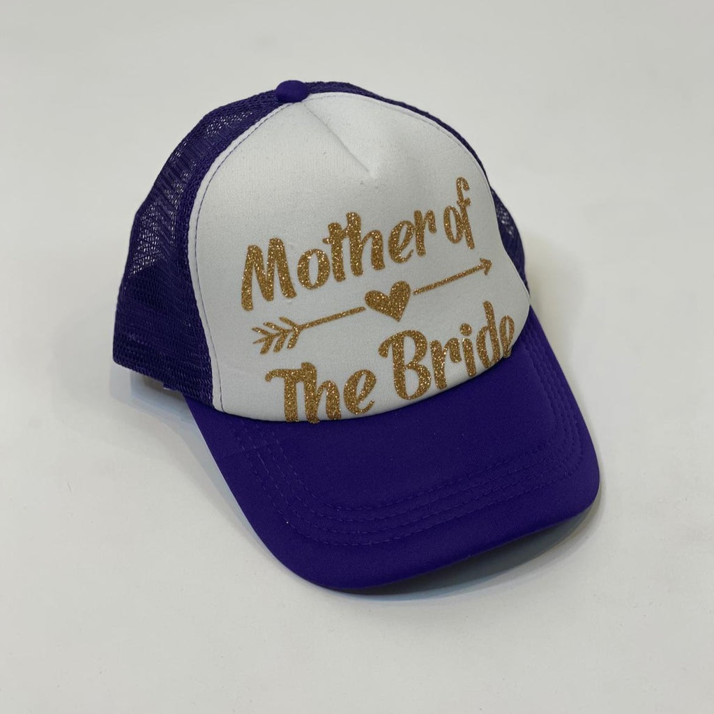 "Sample Sale - Navy Blue/White Trucker Hats, ""Mother of the Bride"", in Gold Glitter"
