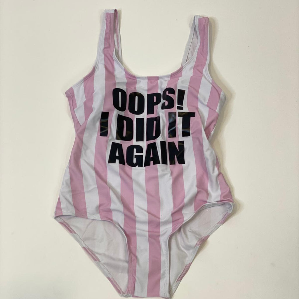 "Sample Sale - Swimsuit, ""OOPS! I did it Again"", in Black Glitter, Size: S"
