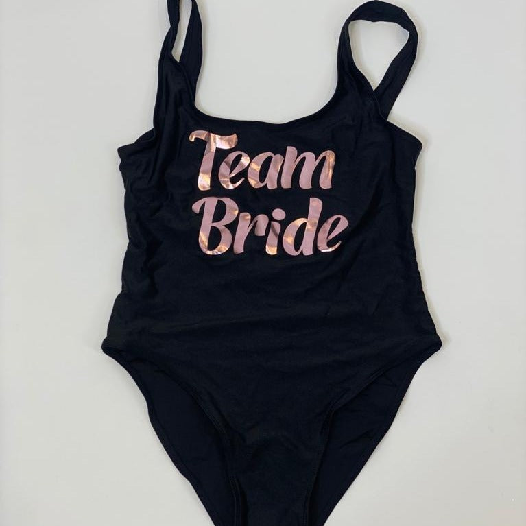 "Sample Sale - Black Swimsuit, ""Team Bride"", in Rose Gold Glitter, Size: M, XXL;"