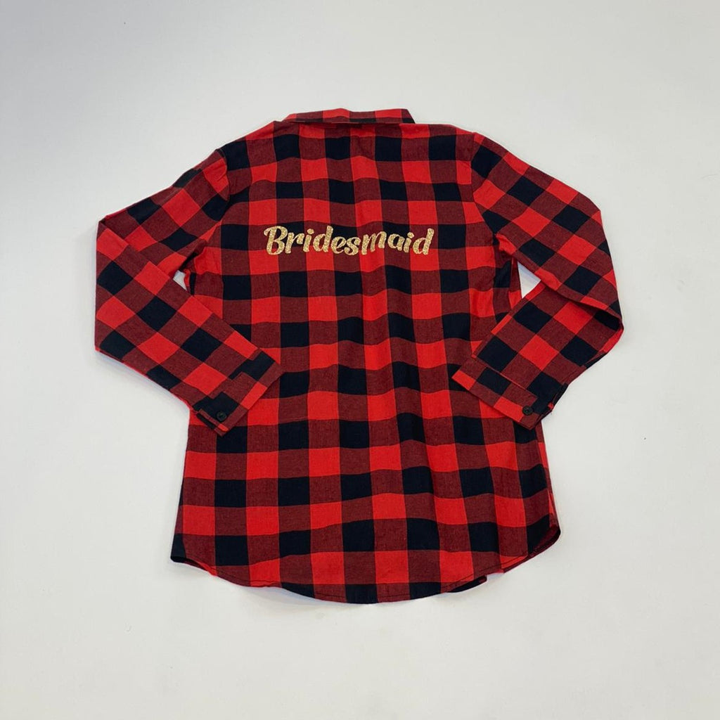 "Sample Sale- Red/Black Buffalo Plaid Flannel Shirts ""Bridesmaid"" in Gold Glitter, Size: S, M"