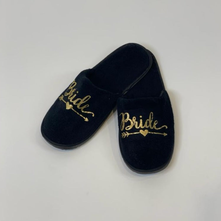 "Sample Sale - Black Slippers ""Bride"" in Gold Glitter"