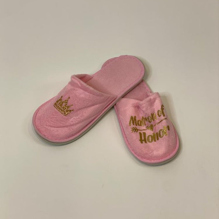 "Sample Sale - Pink Slippers ""Matron of Honor"" in Gold Glitter"