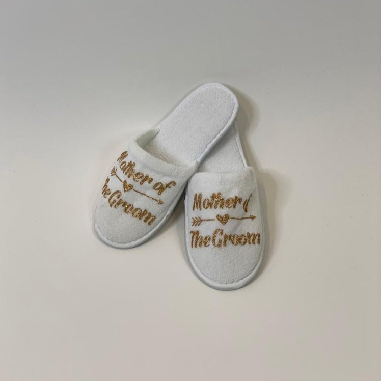 "Sample Sale - White Slippers ""Mother of the Groom"" in Gold Glitter"