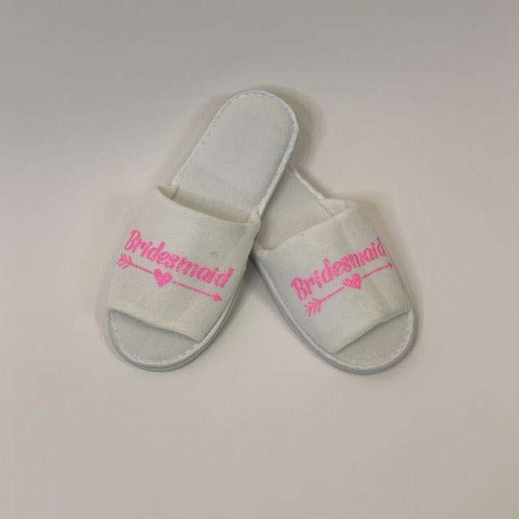 "Sample Sale - White Slippers Open Toe ""Bridesmaid"" in Pink Glitter"