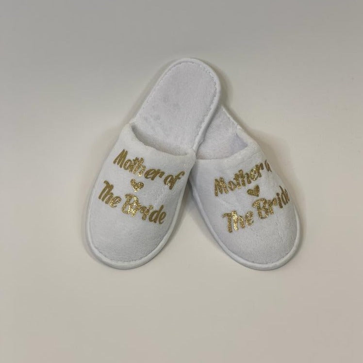 "Copy of Sample Sale - White Slippers ""Mother of the Bride"" in Rose Gold Glitter"