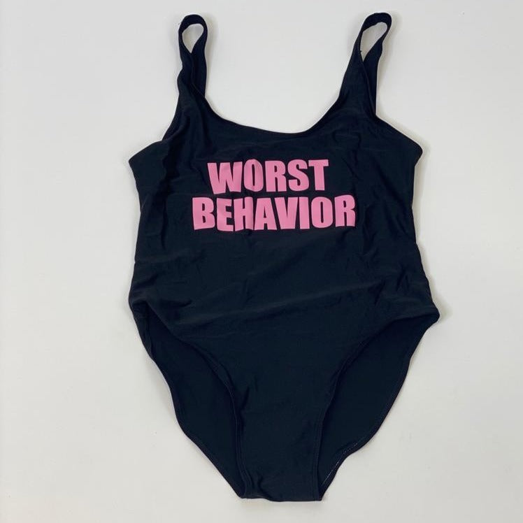 "Sample Sale - Black Swimsuit, ""Worst Behavior"", in Pink Glitter, Size: XL"