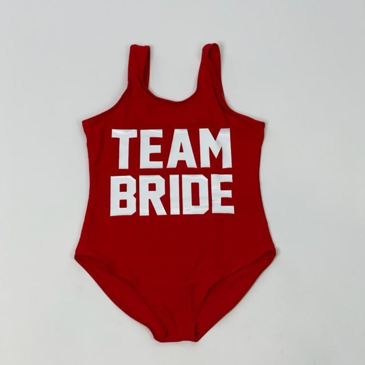 "Sample Sale - Kids Red Swimsuit, ""Team Bride"" in White Glitter, Size: 8Y"