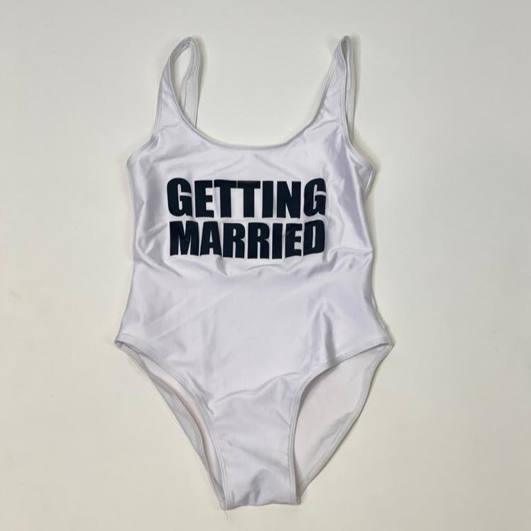"Sample Sale - White Swimsuit, ""Getting Married"", in Black Glitter, Size: S"