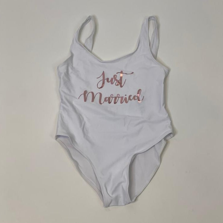"Sample Sale - White Swimsuit, ""Just Married"", in Rose Gold Glitter, Size: L"