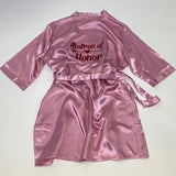 "Sample Sale - Satin Rose Gold Robes ""Matron of Honor"" in Red glitter, Size: XL-2XL"