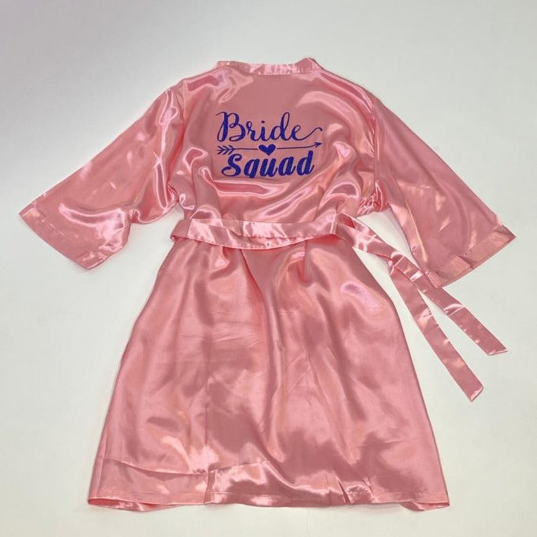 "Sample Sale - Satin Light Pink Robes ""Bride Squad"" in Blue glitter, Size: 2XL-3XL"