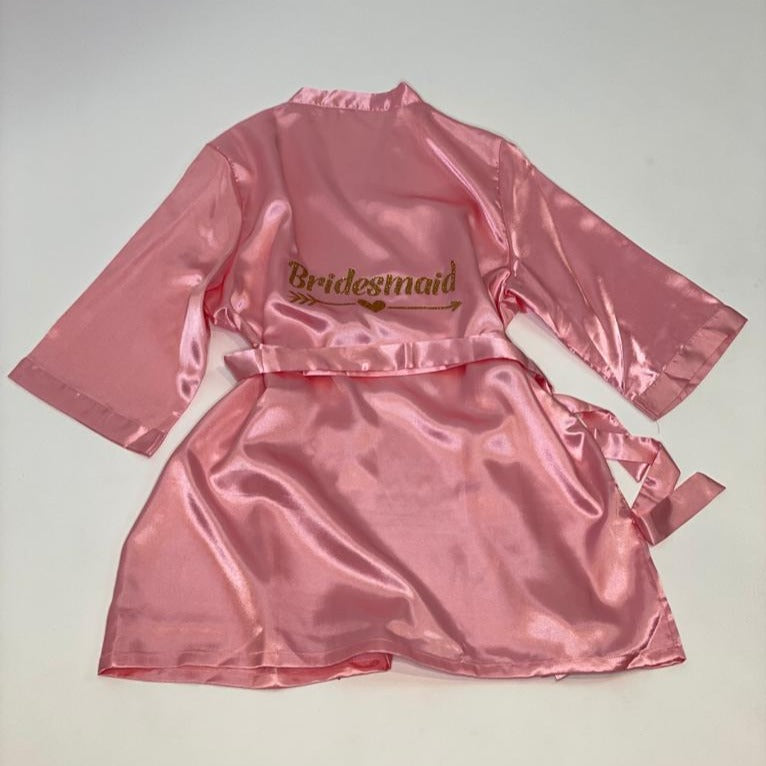"Sample Sale - Satin Rose Gold Robes ""Bridesmaid"" in Gold glitter, Size: S"
