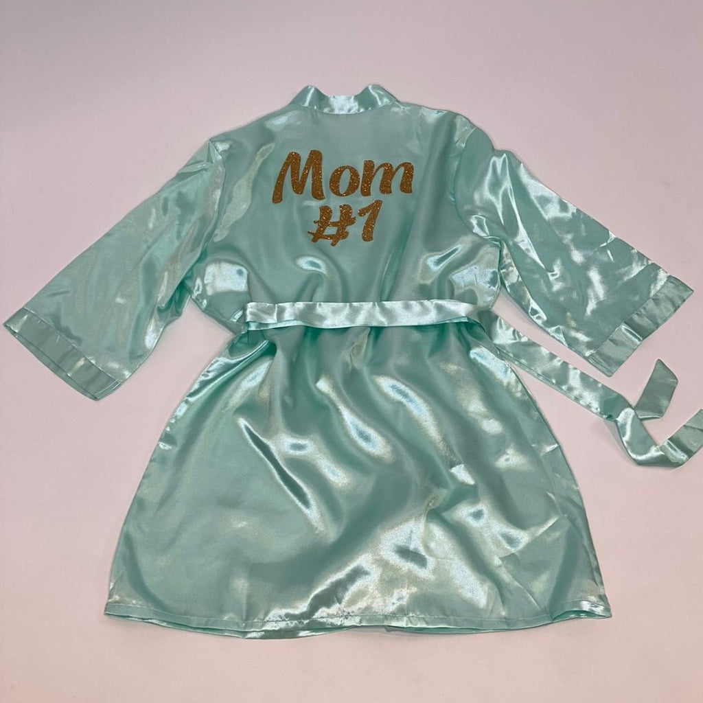 "Sample Sale - Satin Mint Robes ""Mom #1"" in Gold Glitter, Size: S"
