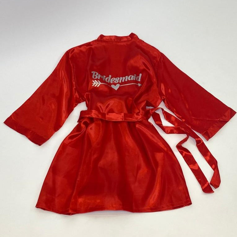 "Sample Sale - Satin Red Robes ""Bridesmaid"" in Silver Glitter"