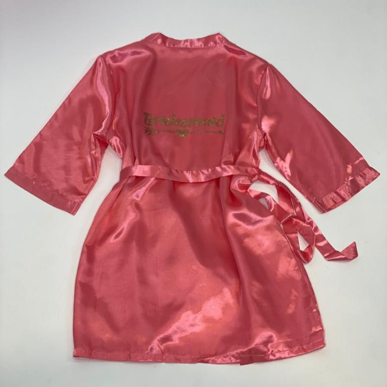 "Sample Sale - Satin Coral Robes ""Bridesmaid"" in Gold Glitter, Size: XL"