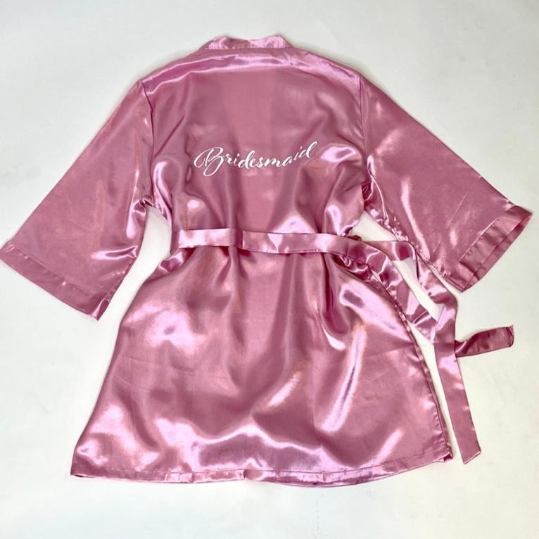 "Sample Sale - Satin Rose Gold Robes ""Bridesmaid"" in White glitter, Size: S"