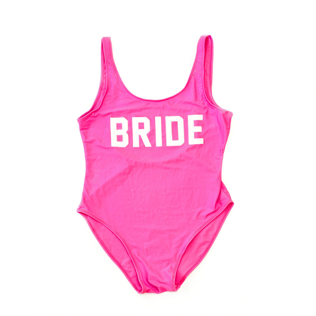 "Sample Sale - Pink Swimsuit, ""Bride"", in White Glitter, Size: XL, XXL"