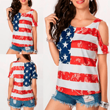 American Flag Shoulders Off T-Shirt - Bridesmaid's World