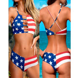 American Flag Two Pieces Swim - Bridesmaid's World