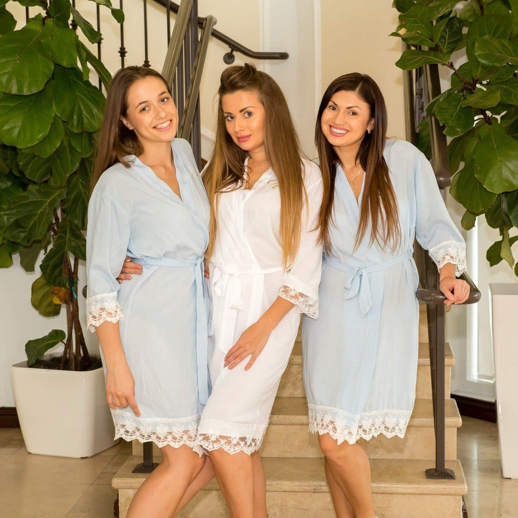 Baby Blue Cotton Lace Bridesmaids Robes - Bridesmaids World
