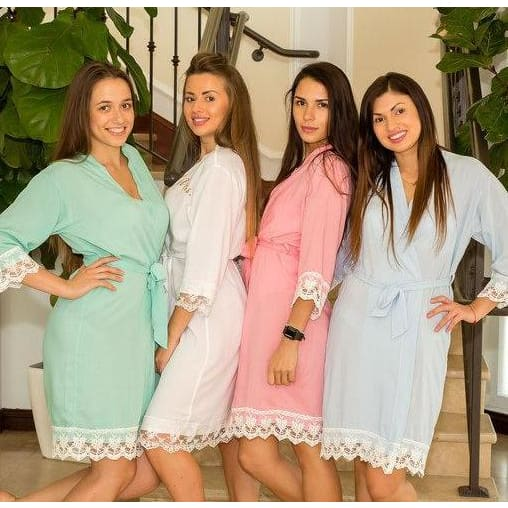 Baby Blue Cotton Lace Robes - Bridesmaids World