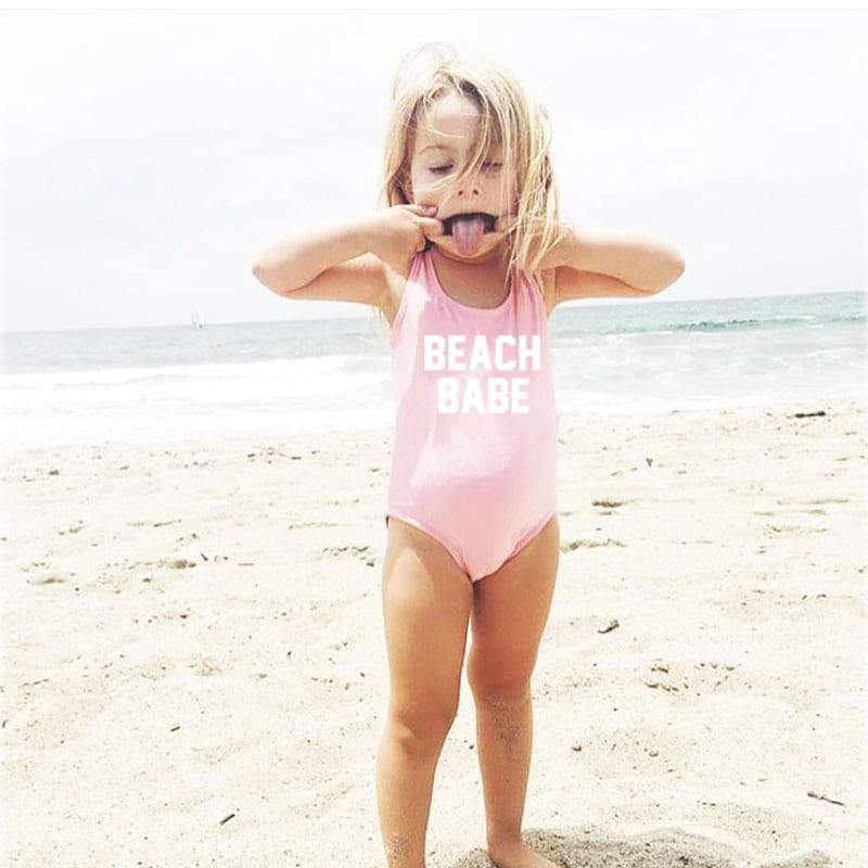 BEACH BABE One Piece Kids Swimsuit - Bridesmaids World