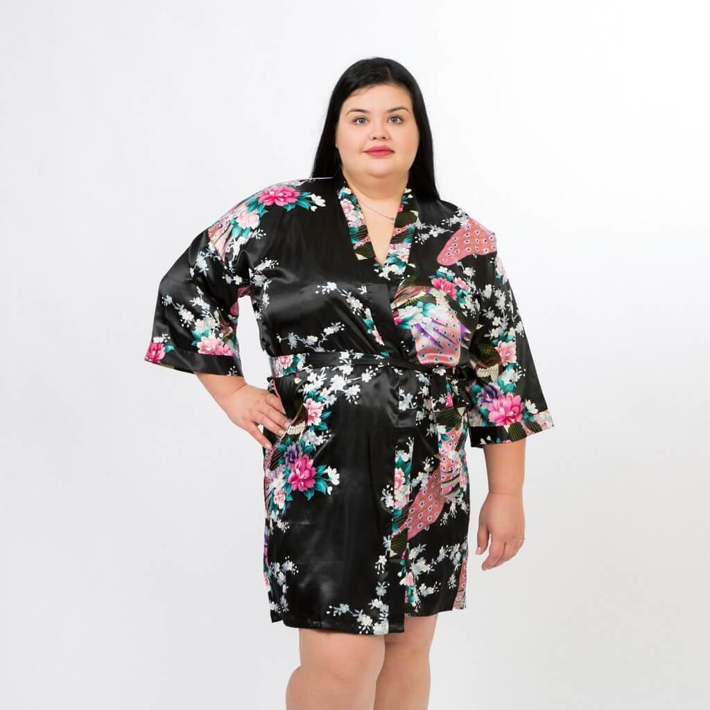 Black Bridesmaid Floral Peacocks Kimono Robes - Bridesmaids World
