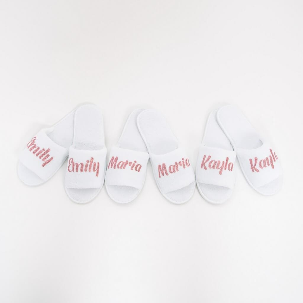 Black Personalized Slippers - Bridesmaids World, White