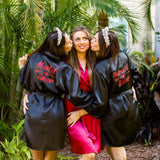 Black satin bridesmaid robes - Bridesmaids World